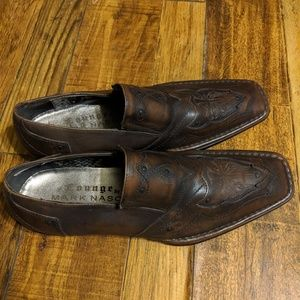 Mark Nason size 9 brown leather loafers.